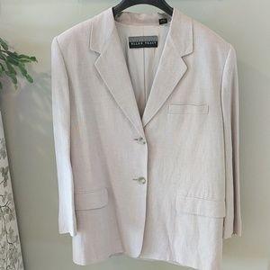 Ellen Tracy linen/rayon box jacket in natural sz12